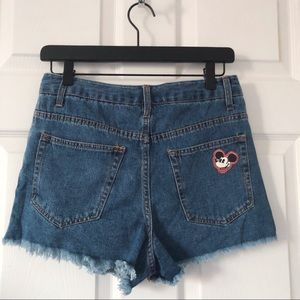 Mickey Mouse Patch Mom Shorts